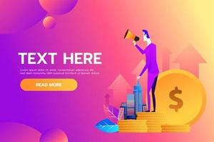 Vector illustration, flat style business promotion, call through the megaphone