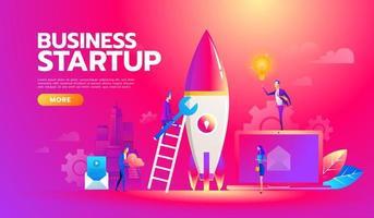 nuevo proyecto de inicio de plan de negocios, desarrollo de búsqueda de inversiones. Equipo de negocios exitoso trabajando en el lanzamiento de un nuevo proyecto de inicio con ideas. vector
