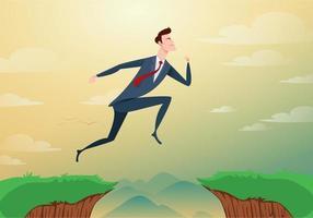 El hombre de negocios salta a través de los obstáculos de la brecha entre la colina hacia el éxito. corriendo y saltando acantilados. concepto de éxito y riesgo empresarial. ilustración vectorial de dibujos animados. vector