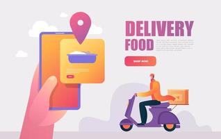 Food delivery service. Mobile application. Young male courier with a large backpack riding a motor bike. vector