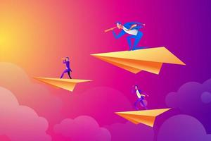 Successful businessman flying on a paper airplane and looking through a telescope, business people flying on paper planes vector
