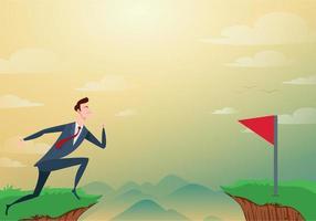 El empresario salta a través de los obstáculos entre la colina y la bandera roja y el éxito. corre y salta acantilados. concepto de éxito y riesgo empresarial. ilustración vectorial de dibujos animados. vector