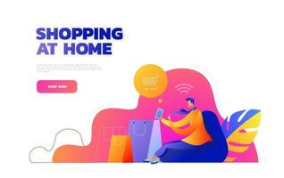 Self isolation concept. Young girl doing online shopping from home during Covid-19. Online purchases from home during Quarantine. Vector illustration.