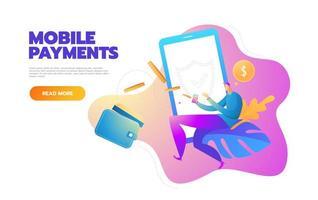 Ilustración de vector de estilo de diseño plano de smartphone moderno con procesamiento de pagos móviles desde tarjeta de crédito. concepto de banca por Internet.