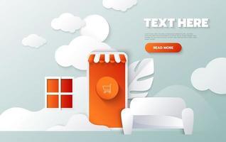Landing page template of Online Shopping. Modern flat design concept of web page design for website and mobile website. Vector Illustration.