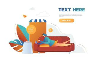 woman buying things online store in mobile app, vector, lying on the sofa.