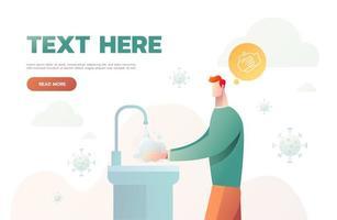 hombre lavándose las manos por higiene. ataque de virus. Ilustración de vector de coronavirus 2019-ncov