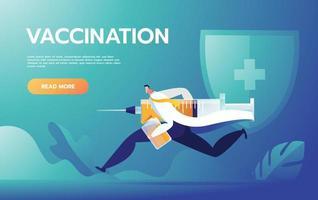 médico corre con jeringa. vacunación contra virus, agujas y drogas, ilustración vectorial. vector