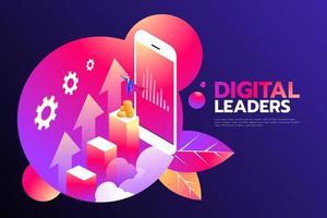 empresario isométrico con capa volando sobre el gráfico y el teléfono inteligente, digital en línea y concepto de negocio. líder digital. vector