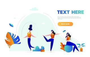 mujeres fitness en gimnasio, ejercicios de gimnasia y ejercicios de yoga. gente del deporte, salud y saltar la cuerda, ilustración vectorial. vector