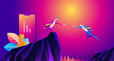illustration of businessman giving hand to businessman jumping to goal at cliff business teamwork concept vector