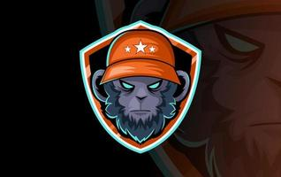 Mascota de cabeza de gorila para club deportivo o equipo. mascota animal. modelo. ilustración vectorial.