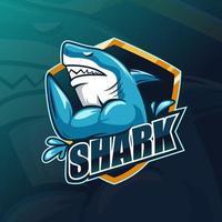 Plantilla de mascota de juego de deportes de tiburón pez. ilustración vectorial. vector