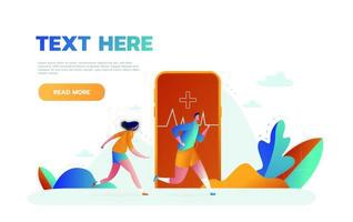 Vector illustration of big smartphone with fitness activity tracking application for exercising, running and tiny people doing sports. Smart sports technology concept for web banner, website page etc.