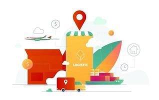 Ilustración de vector de servicio de entrega para tecnología de aplicaciones móviles de transporte logístico. diseño de cartel isométrico de teléfono inteligente y camión de reparto.
