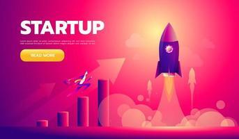 personaje de dibujos animados, empresario volando en cohete de inicio. vector eps10.