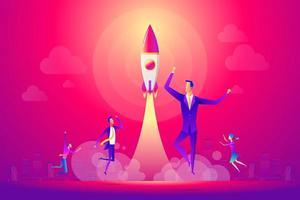 Gente de negocios exitosa y equipo celebrando un nuevo proyecto exitoso. vector