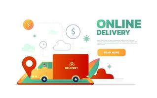 Delivery service. Delivery truck on city background. Flat style, vector illustration