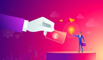 Businessman with light bulb and other hand giving money. Crowdfunding, innovation, idea, investments concept. Flat style icons. vector illustration