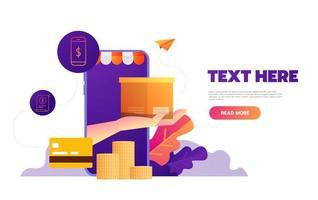 Shopping online on mobile app. Vector illustration.