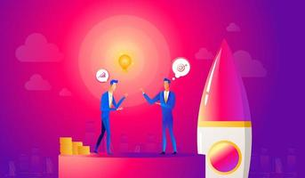 Startup business illustration. Businessmen makes an agreement on idea before launching rocket. Innovation technology start up.