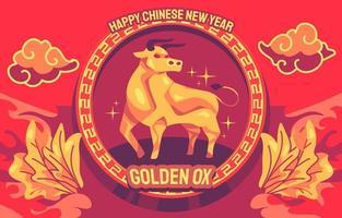 ilustración del año del buey dorado vector
