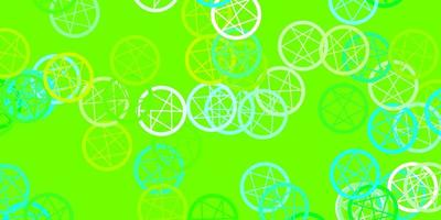 Light Blue, Green vector background with occult symbols.