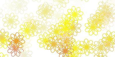 Plantilla de doodle de vector naranja claro con flores.