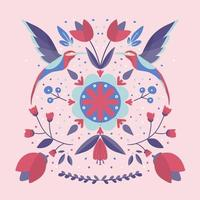 folk art scandinavian colourful pattern with flowers and colibri vector
