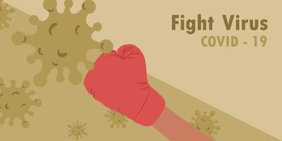 Boxing glove fighting with COVID-19 virus vector