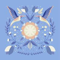 folk art scandinavian colourful pattern with flowers and colibri birds vector illustration