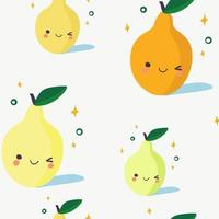 Cartoon style pears seamless pattern  Asian design. Hand drawn colored trendy vector illustration