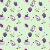 Cartoon style blueberry seamless pattern Asian design. Hand drawn colored trendy vector