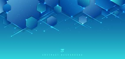 Abstract blue background geometric hexagons overlapping with lines and lighting technology futuristic digital concept.