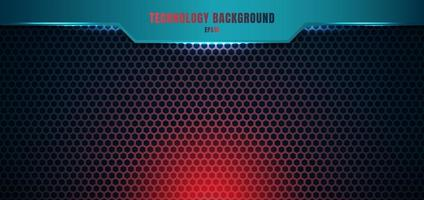Template blue geometric header on hexagon pattern red lighting background and texture with space for your text. vector