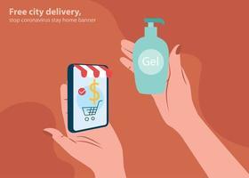 Stop coronavirus delivery service phone banner, 2019-nCoV pandemic quarantine. vector