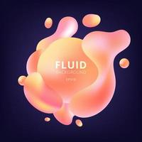Abstract 3D fluid yellow and pink gradient color bubbles shapes on dark blue background. vector