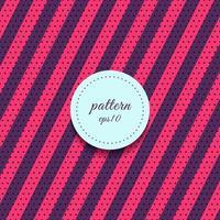 Resumen patrón de líneas diagonales de rayas rosas y púrpuras con fondo de lunares. vector