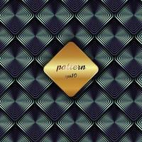 Abstract metallic geometric blue square pattern with shadow and golden background label. vector
