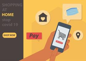 Online Shopping, Shopping at home, Contactless safe delivery service concept.