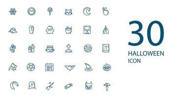 conjunto de iconos de línea delgada de halloween, colección de símbolos misteriosos