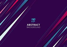 Abstract modern blue, pink and white diagonal dynamic stylish geometric triangles stripe line pattern on purple background vector