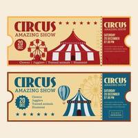 horizontal vintage circus ticket for fun fair vector