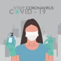 mujer que usa una botella de desinfectante de manos, gel desinfectante de manos, crucial para el coronavirus vector
