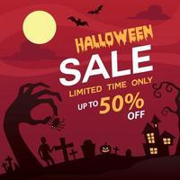cartel de gran venta de feliz halloween vector