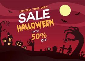 anuncio de banner de venta de halloween vector
