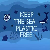 Keep the sea plastic free poster vector