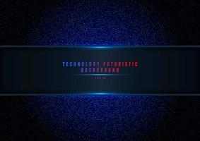 Abstract blue halftone glittering effect with dot radial pattern and glowing lights on dark background vector