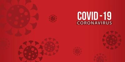 Covid-19 Virus and Blood Cell on Red Background. Vector 2019-ncov Corona Virus Outbreak Illustration.