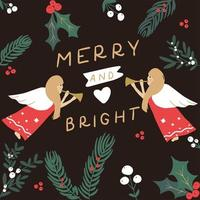 Merry and Bright Christmas greetings card vector